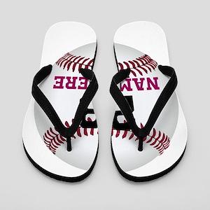 Baseball Player Name Number Flip Flops