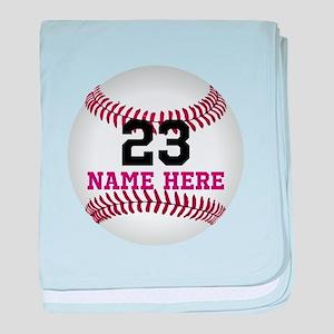 Baseball Player Name Number baby blanket