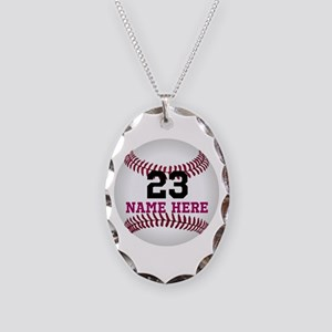 Baseball Player Name Number Necklace Oval Charm