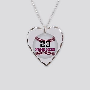 Baseball Player Name Number Necklace Heart Charm
