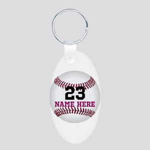 Baseball Player Name Number Aluminum Oval Keychain