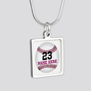Baseball Player Name Numbe Silver Square Necklace