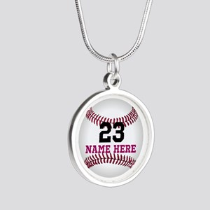 Baseball Player Name Number Silver Round Necklace