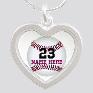 Baseball Player Name Number Silver Heart Necklace