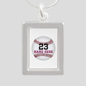 Baseball Player Name Num Silver Portrait Necklace