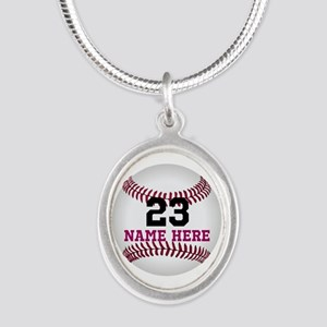 Baseball Player Name Number Silver Oval Necklace