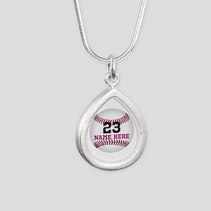 Baseball Player Name Num Silver Teardrop Necklace