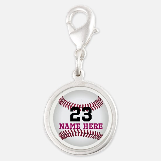 Baseball Player Name Number Silver Round Charm