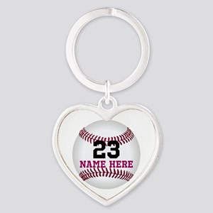 Baseball Player Name Number Heart Keychain