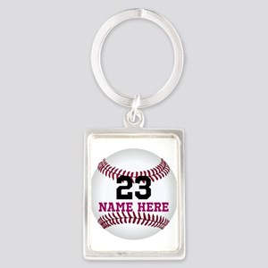 Baseball Player Name Number Portrait Keychain