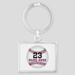 Baseball Player Name Number Landscape Keychain