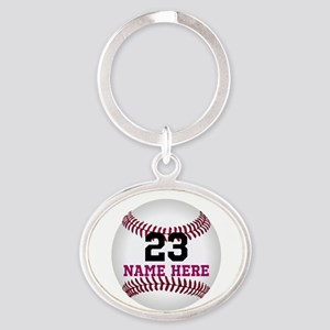 Baseball Player Name Number Oval Keychain