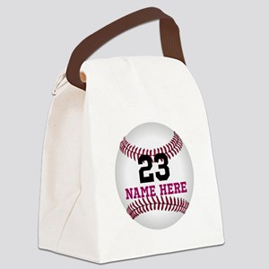 Baseball Player Name Number Canvas Lunch Bag