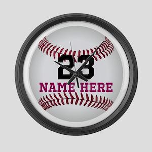 Baseball Player Name Number Large Wall Clock