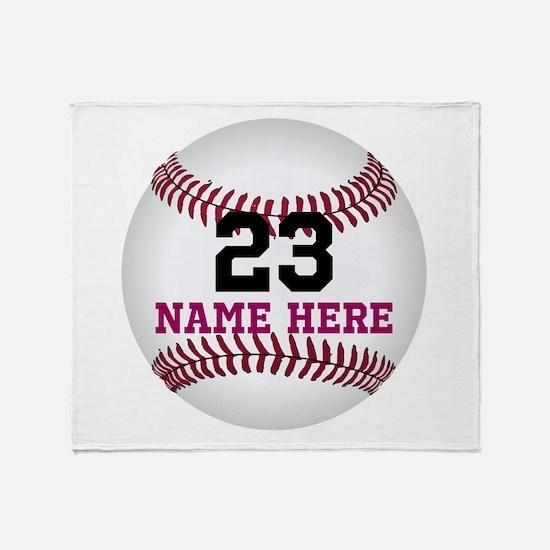 Baseball Player Name Number Throw Blanket