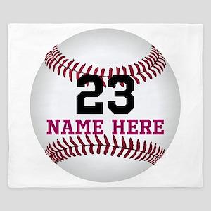 Baseball Player Name Number King Duvet