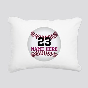 Baseball Player Name Num Rectangular Canvas Pillow