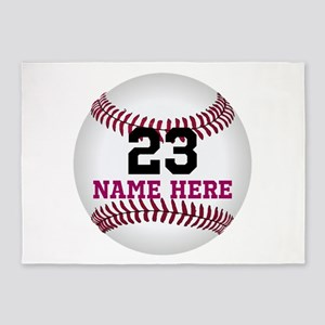 Baseball Player Name Number 5'x7'Area Rug