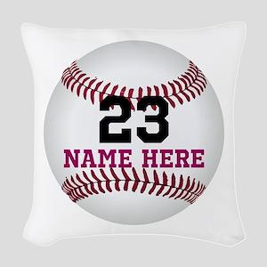 Baseball Player Name Number Woven Throw Pillow