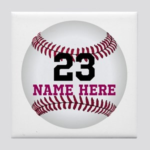 Baseball Player Name Number Tile Coaster
