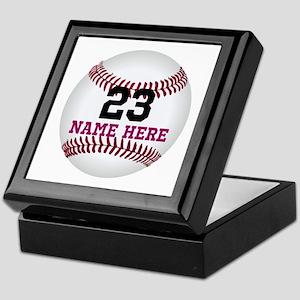 Baseball Player Name Number Keepsake Box