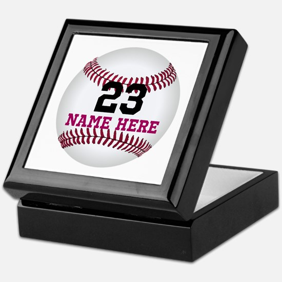 Baseball Player Name Number Keepsake Box