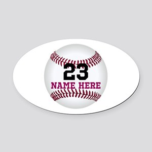 Baseball Player Name Number Oval Car Magnet