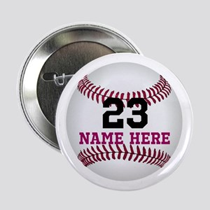 """Baseball Player Name Number 2.25"""" Button"""