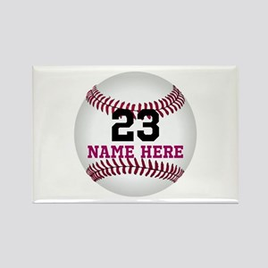 Baseball Player Name Number Rectangle Magnet