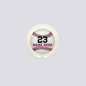 Baseball Player Name Number Mini Button