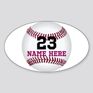 Baseball Player Name Number Sticker (Oval)