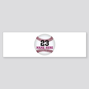 Baseball Player Name Number Sticker (Bumper)