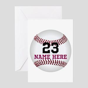 Baseball Player Name Number Greeting Card