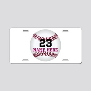 Baseball Player Name Number Aluminum License Plate