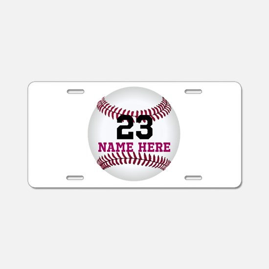 Baseball Player Name Number Aluminum License Plate