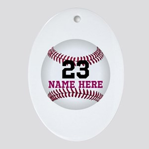 Baseball Player Name Number Oval Ornament