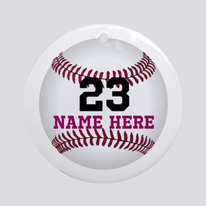 Baseball Player Name Number Round Ornament