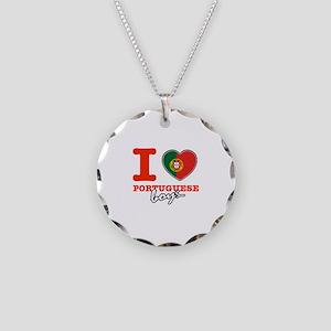 I love Portuguese Boys Necklace Circle Charm