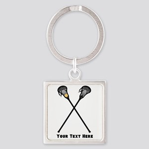 Lacrosse Player Customized Square Keychain
