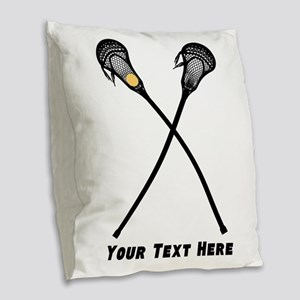 Lacrosse Player Customized Burlap Throw Pillow