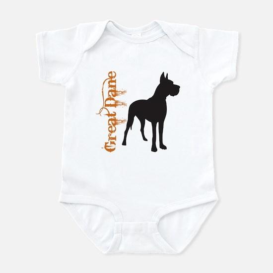 Grunge Great Dane Silhouette Infant Bodysuit