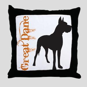 Grunge Great Dane Silhouette Throw Pillow