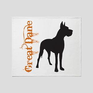 Grunge Great Dane Silhouette Throw Blanket