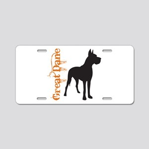 Grunge Great Dane Silhouette Aluminum License Plat