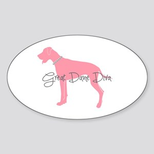 Diamonds Great Dane Diva Sticker (Oval)