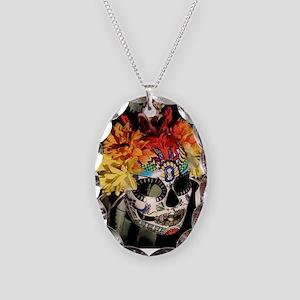 Dia de los Muertos Necklace Oval Charm