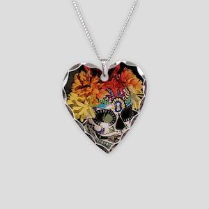 Dia de los Muertos Necklace Heart Charm