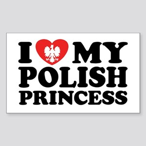I Love My Polish Princess Rectangle Sticker