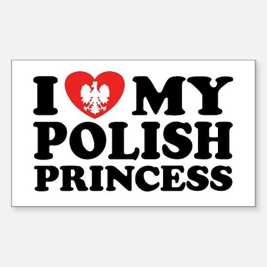 I Love My Polish Princess Rectangle Decal