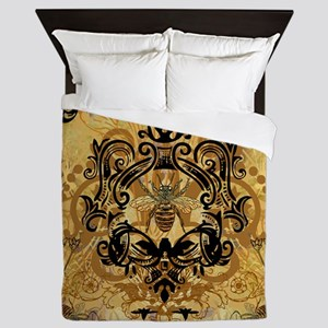 Golden Bee Garden Queen Duvet